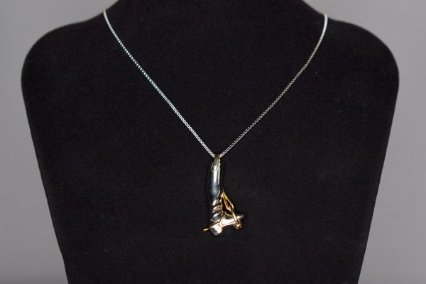 Silver necklace with riding boot