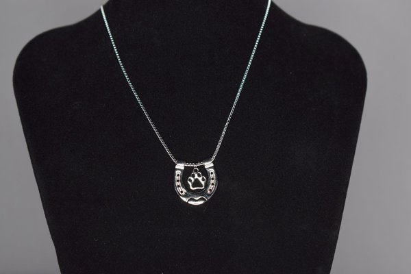 Silver necklace with horseshoe